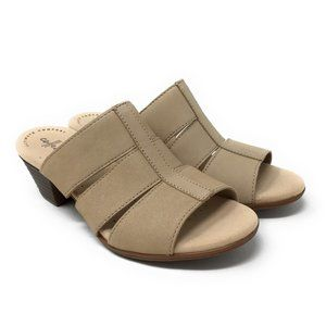 Clarks Nubuck Heeled Sandals Valarie Model Sand 6M